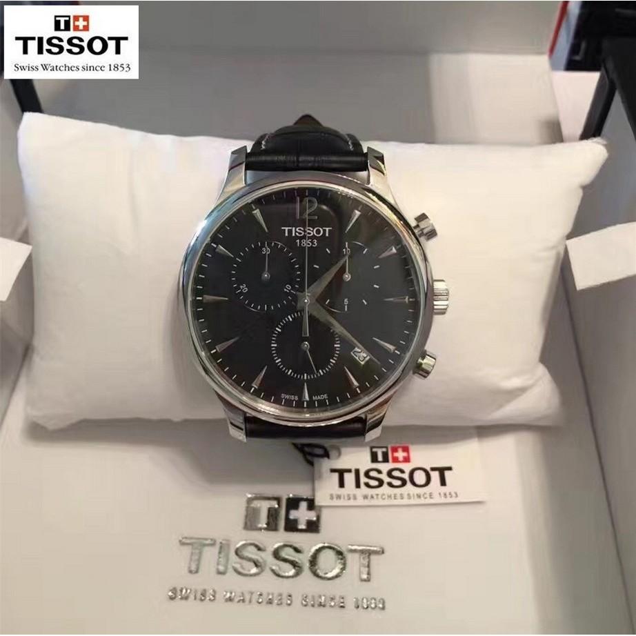 ~男神女神~TISSOT 天梭 貨瑞士手錶俊雅系列石英男錶皮帶款商務休閒男士腕錶T063