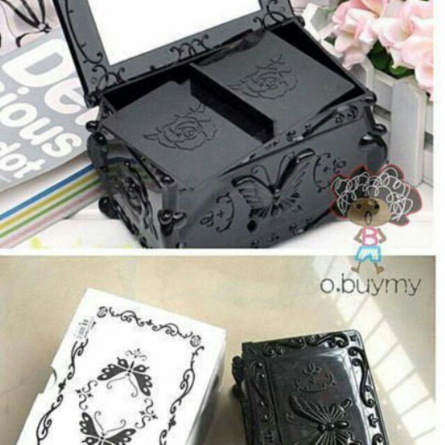 甜美古典蝴蝶雕花翻蓋雙層化妝棉盒安娜蘇風格首飾盒收納盒珠寶盒