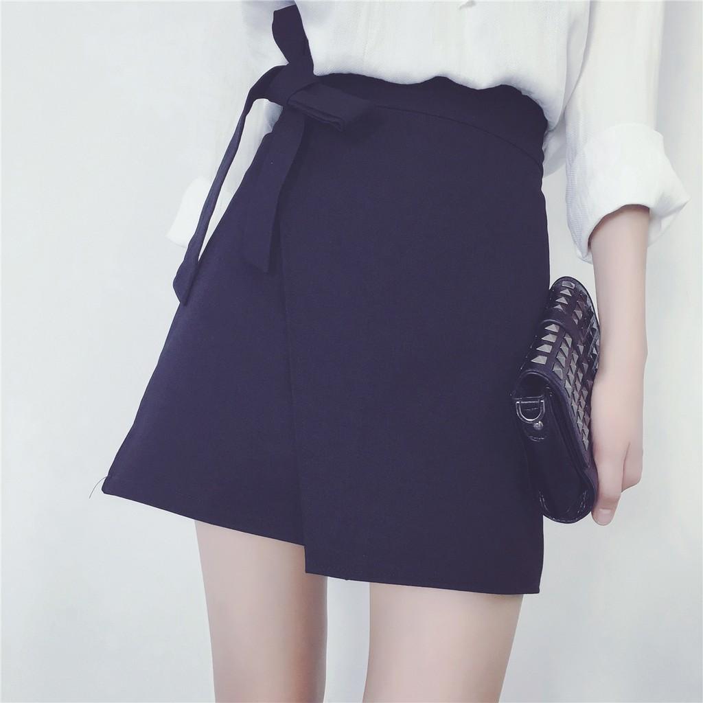 韓系蝴蝶結不規則短裙A 字裙高腰半身裙16111