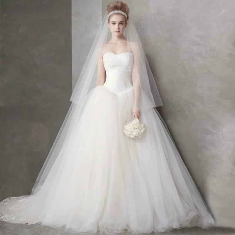 平口蕾絲蓬裙齊地婚紗白紗新娘婚紗新娘禮服自助婚紗