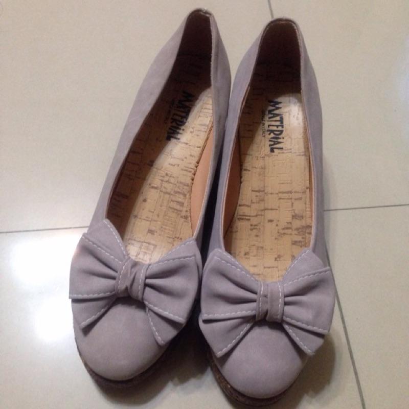 紫色蝴蝶結楔型鞋24cm 版型正常