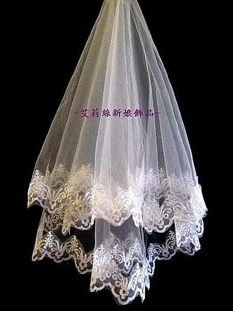 艾莉絲新娘飾品 零售~新娘秘書婚紗禮服白紗進場結婚迎娶蕾絲繡花單層新娘頭紗A 款可 + 出