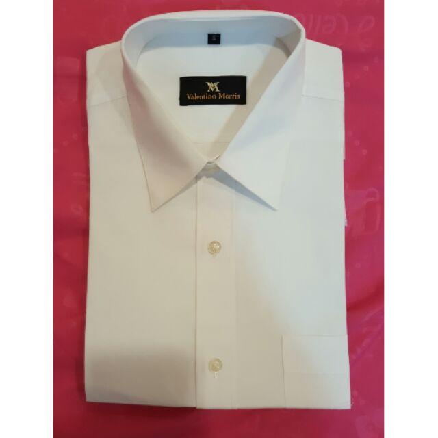 純白色男士短袖襯衫,16 號