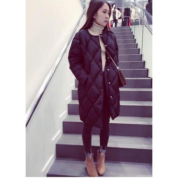 中長款羽絨棉衣女生寬鬆大碼外套 單排扣菱形格冬裝加厚棉服