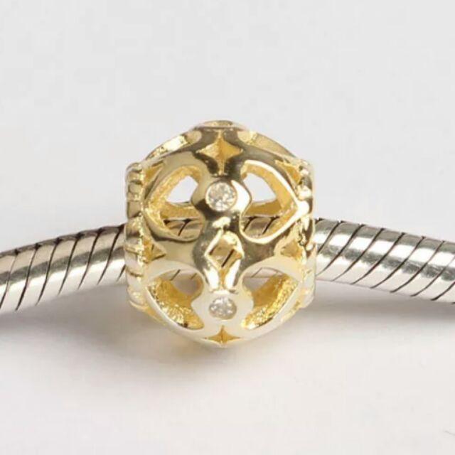 ~925 純銀系列, 3 顆八折~純銀鍍金愛心鏤空鑲鑽珠子穿潘朵拉及項鍊