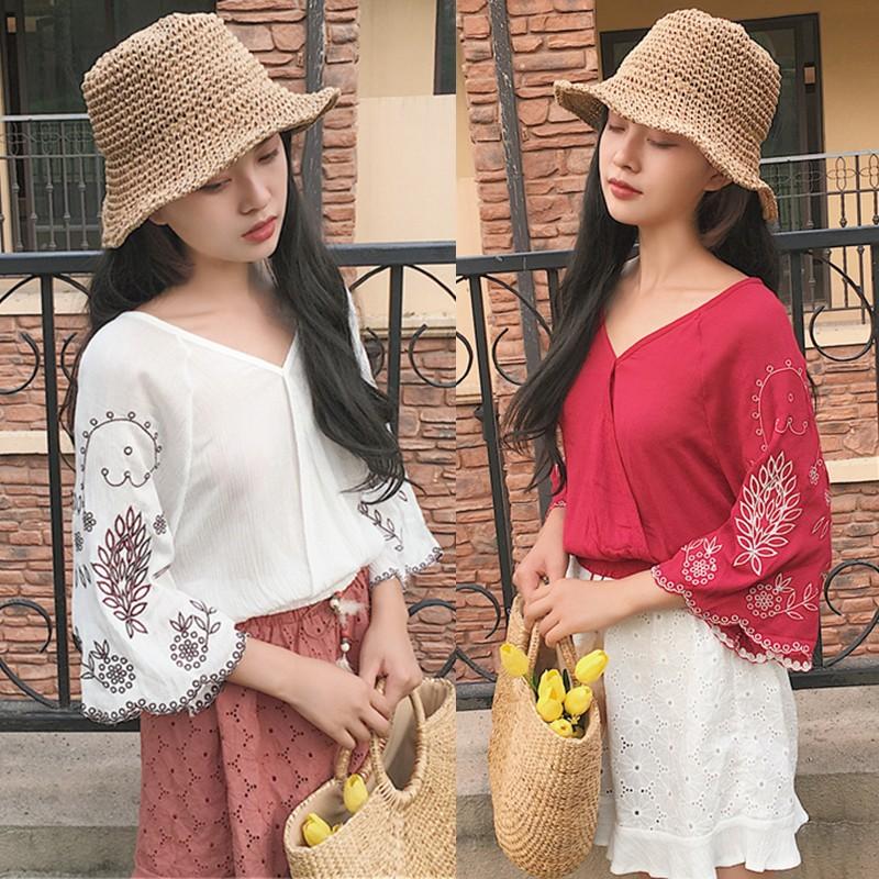 ✨韓鈕 ✨韓系新品甜美小清新寬鬆V 領襯衫氣質複古上衣刺繡雪紡衫