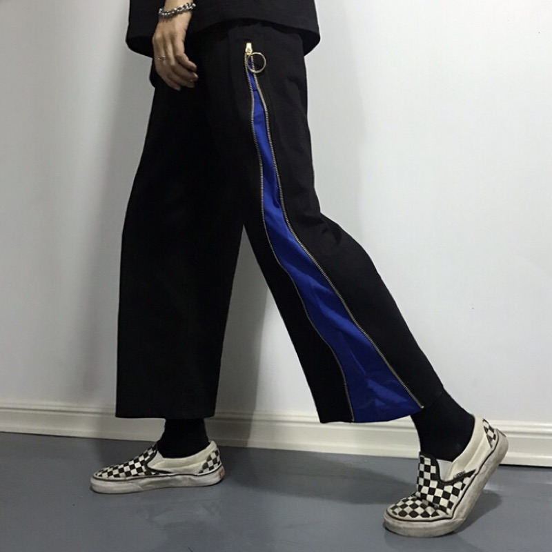 撞色拼接側拉鍊寬鬆高腰 褲