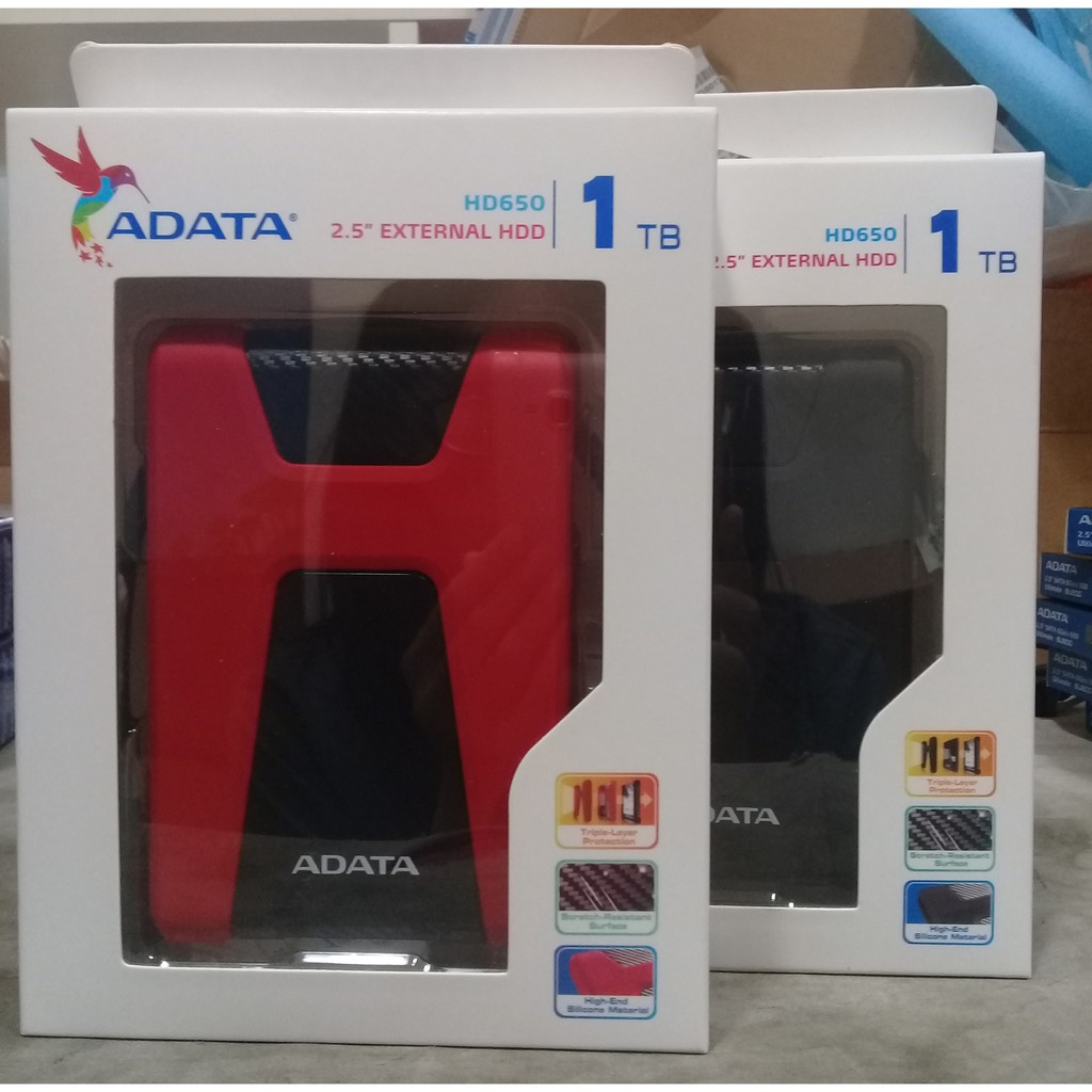 ADATA 威剛HD650 1T 1TB 軍規悍馬碟強悍三層防震2 5 吋外接行動硬碟紅黑