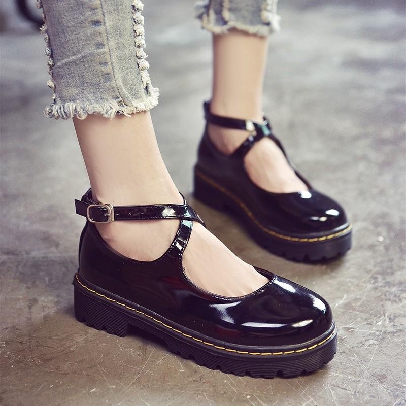 韓國范復古森女系圓頭娃娃鞋方跟女單鞋女夏學生搭扣平底日系包頭小皮鞋