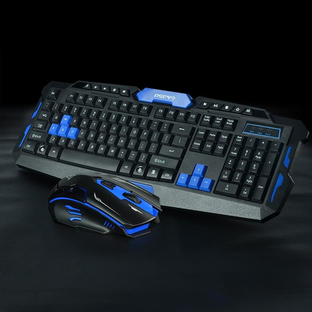 ( 請務必選宅配)都市方圓HK8100 智慧無線滑鼠鍵盤套裝電視遊戲鍵鼠套件黑藍色