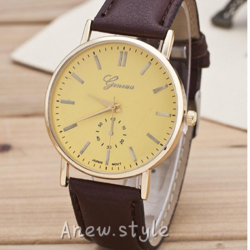~安妞style ~ 錶 ㊒日 氣質素面皮質錶帶情侶對錶男女學生簡約美型