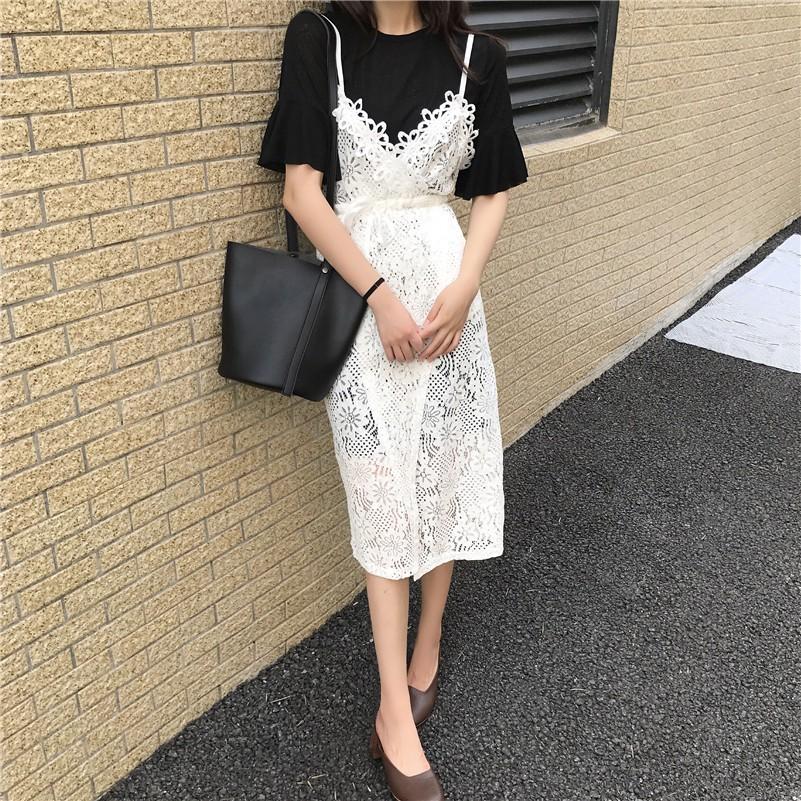蕾絲洋裝日系洋裝複古V 領吊帶正韓顯瘦百搭蕾絲連衣裙 喇叭袖短袖長款過膝T 恤裙兩件套裝(