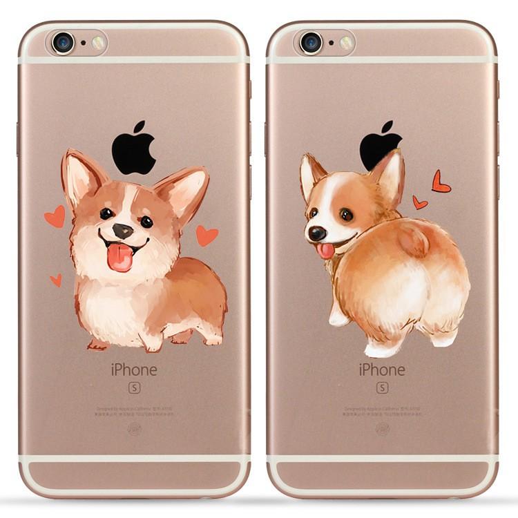 柯基狗蘋果iPhone66splus5s5se 手機殼矽膠原 可愛男女ARBH041 NU