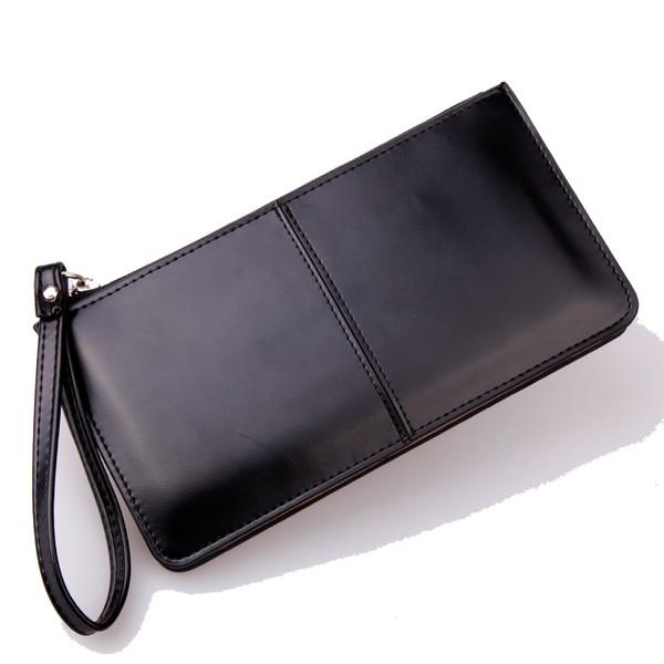 中 牛皮長款女士錢包三層包手機包大容量手拿包黑色