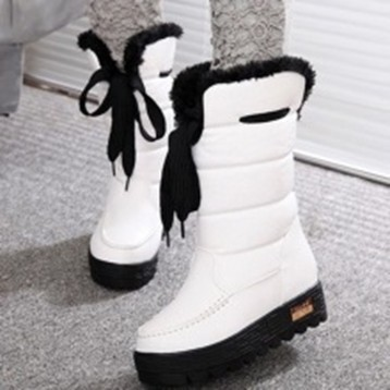 704 006 防水防滑雪地靴雪靴短靴短筒保暖加厚棉鞋潮白色37