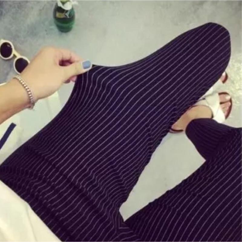[隨心所欲]緊身條紋格子純色大碼外穿長褲鉛筆褲顯瘦高彈力打底褲大 122019