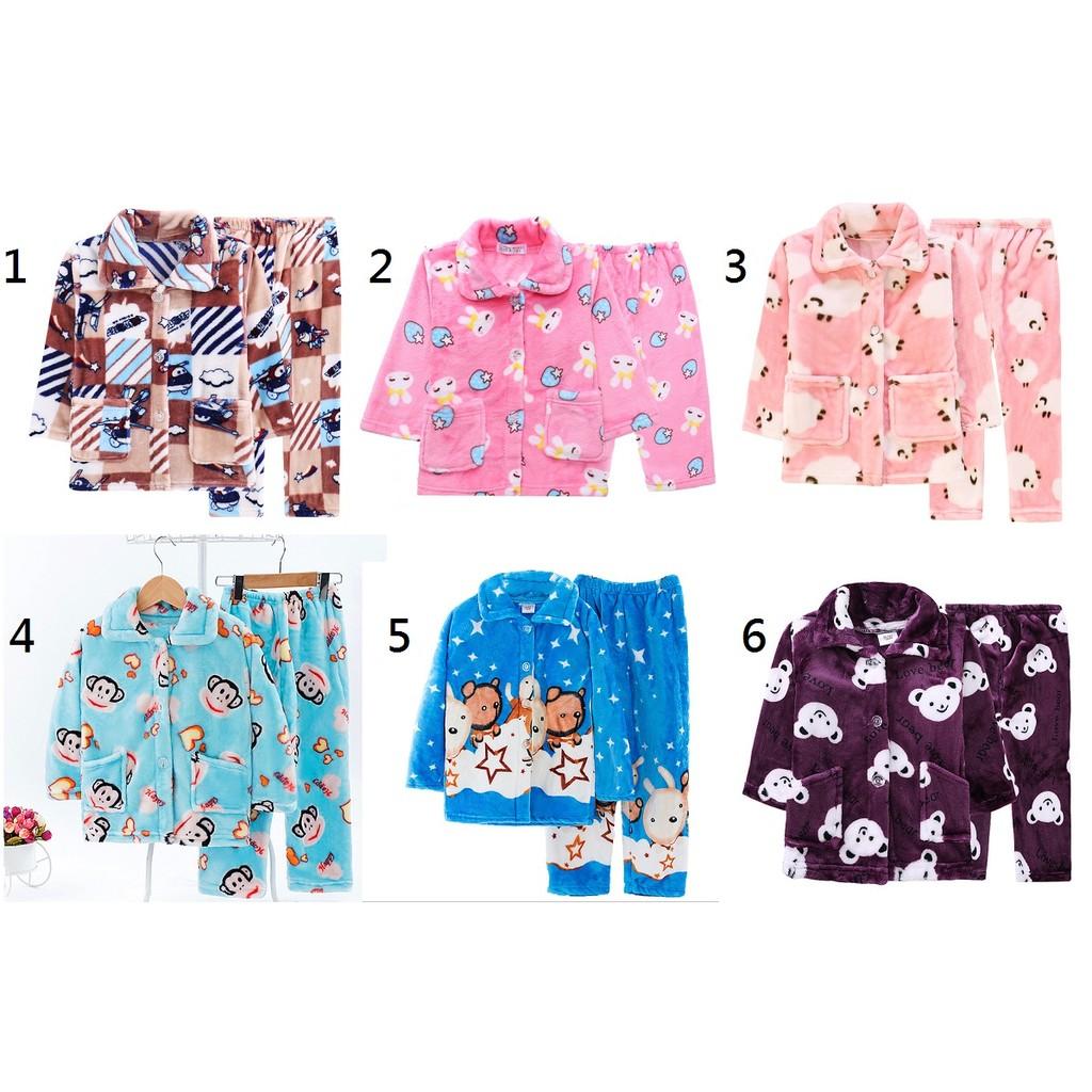 男童女童成套睡衣兒童睡衣珊瑚絨長袖法蘭絨春秋 女童男 家居服寶寶小孩套裝
