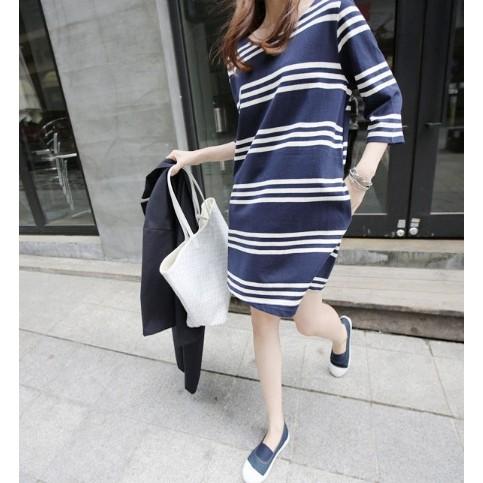 ~幸福孕婦裝~ 條紋棉質哺乳裙哺乳孕婦裙孕婦裝授乳衣產後外出哺乳裝修飾產後身材111032