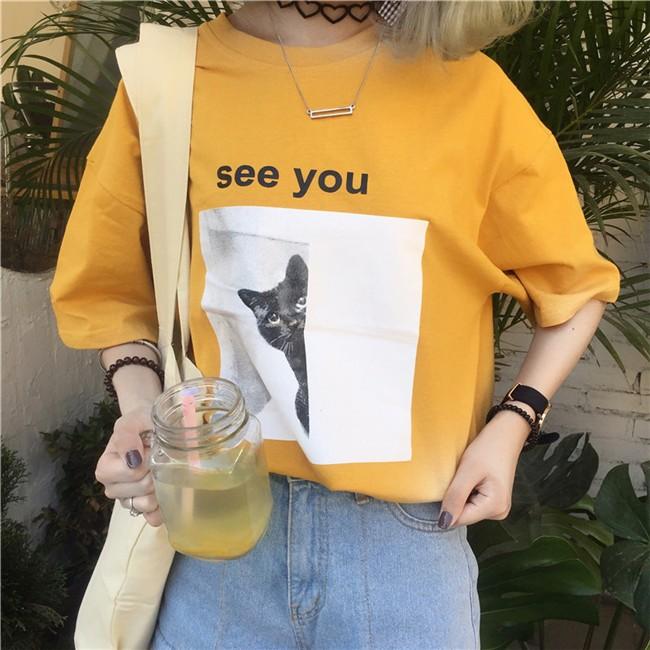 ~ ~可愛貓咪印花短袖T 恤女寬鬆短袖顯瘦學生上衣棉T