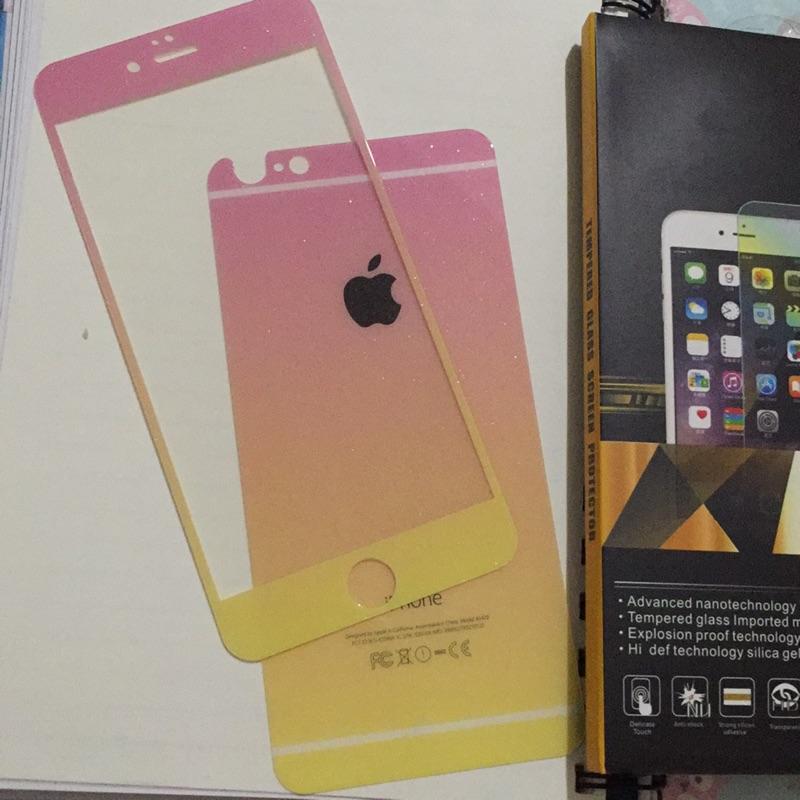Apple iPhone 6 Plus 5 5 寸滿版鋼化玻璃貼一套前後膜粉紅漸變黃色閃亮
