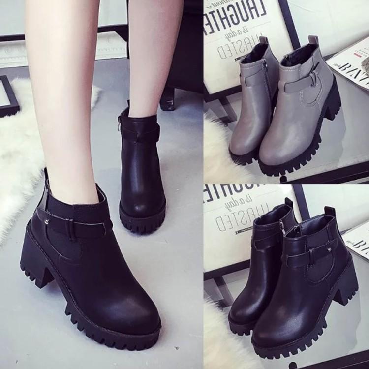春秋款英倫短靴學生女鞋粗跟高跟鞋鬆糕厚底鞋側拉鍊馬丁靴靴子黑灰