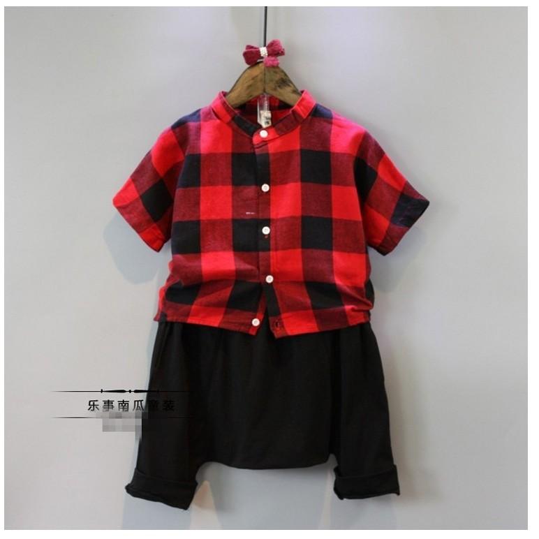 K  男童中性款格子短袖襯衫哈倫褲套裝 ! 1