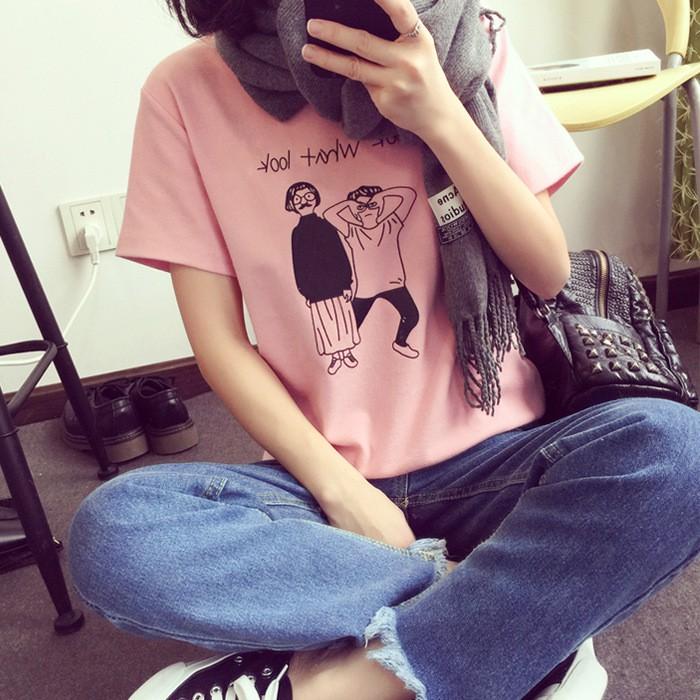 女裝寬鬆大碼卡通印花上衣 打底衫短袖T 恤女破千 短袖短袖修身涼感衣圓弧下擺短素面圓筒CR