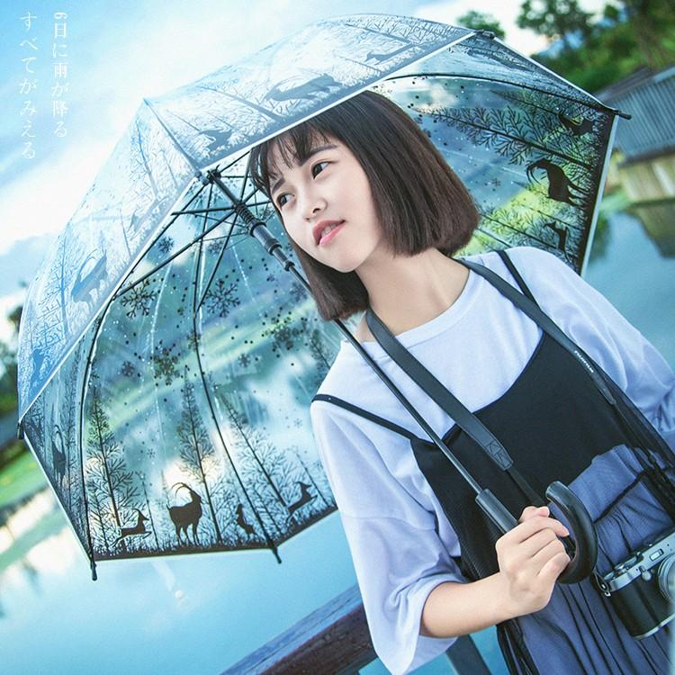 唯美動物透明傘長柄萌動漫雨傘黑白森林系星座傘男女雨傘公主傘n 可愛雨傘文青最愛雨傘百搭雨傘