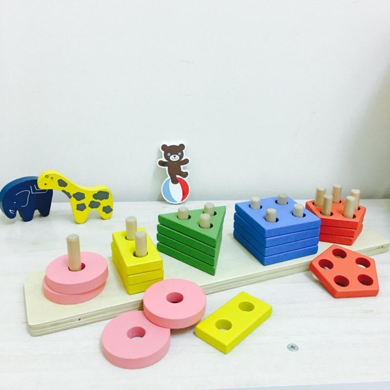 幾何五套柱組幾何套件形狀配對拼裝積木疊疊益智早教木質玩具