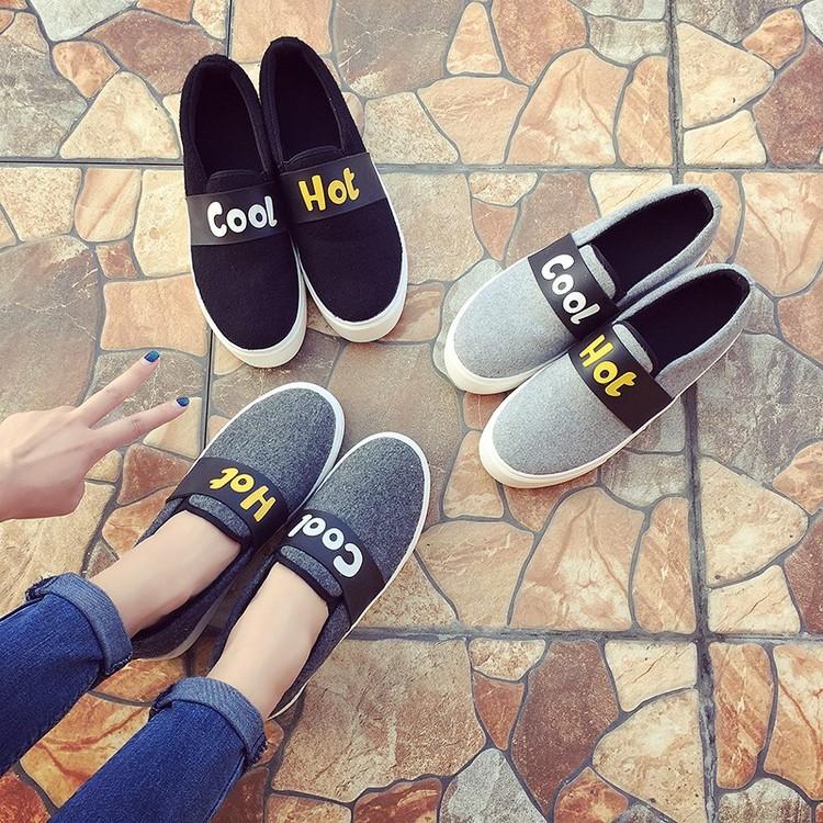黑色樂福鞋厚底帆布鞋女 學生懶人鞋女休閒鞋一腳蹬女鞋潮