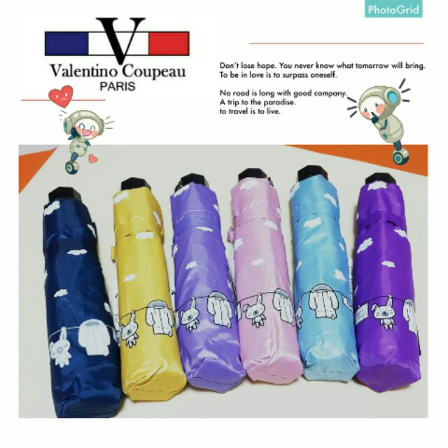 范倫鐵諾 晒幸福銀膠手開三折傘折疊傘陽傘防曬防風抗UV 紫外線