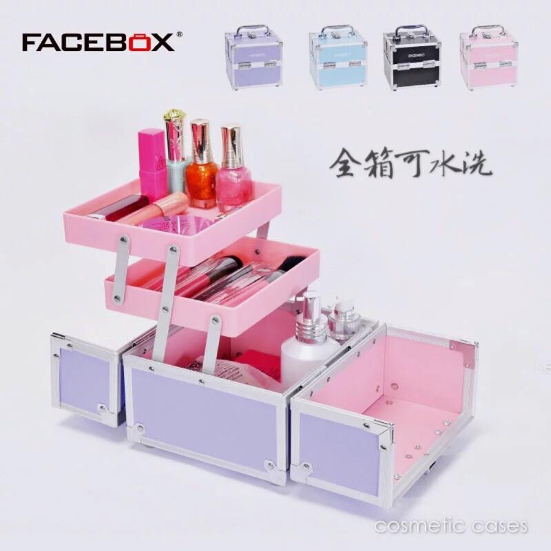 防水可水洗手提化妝箱鋁合金化妝箱彩妝箱可愛化妝包高  耐用 化妝箱美甲箱美睫箱化妝盒堅固化