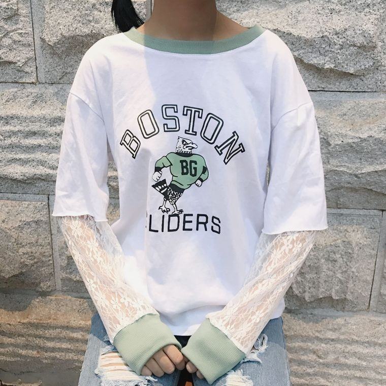 ~ ~韓國 學院風實拍 學院風短袖拼接網紗蕾絲長袖t 恤女假兩件百搭上衣