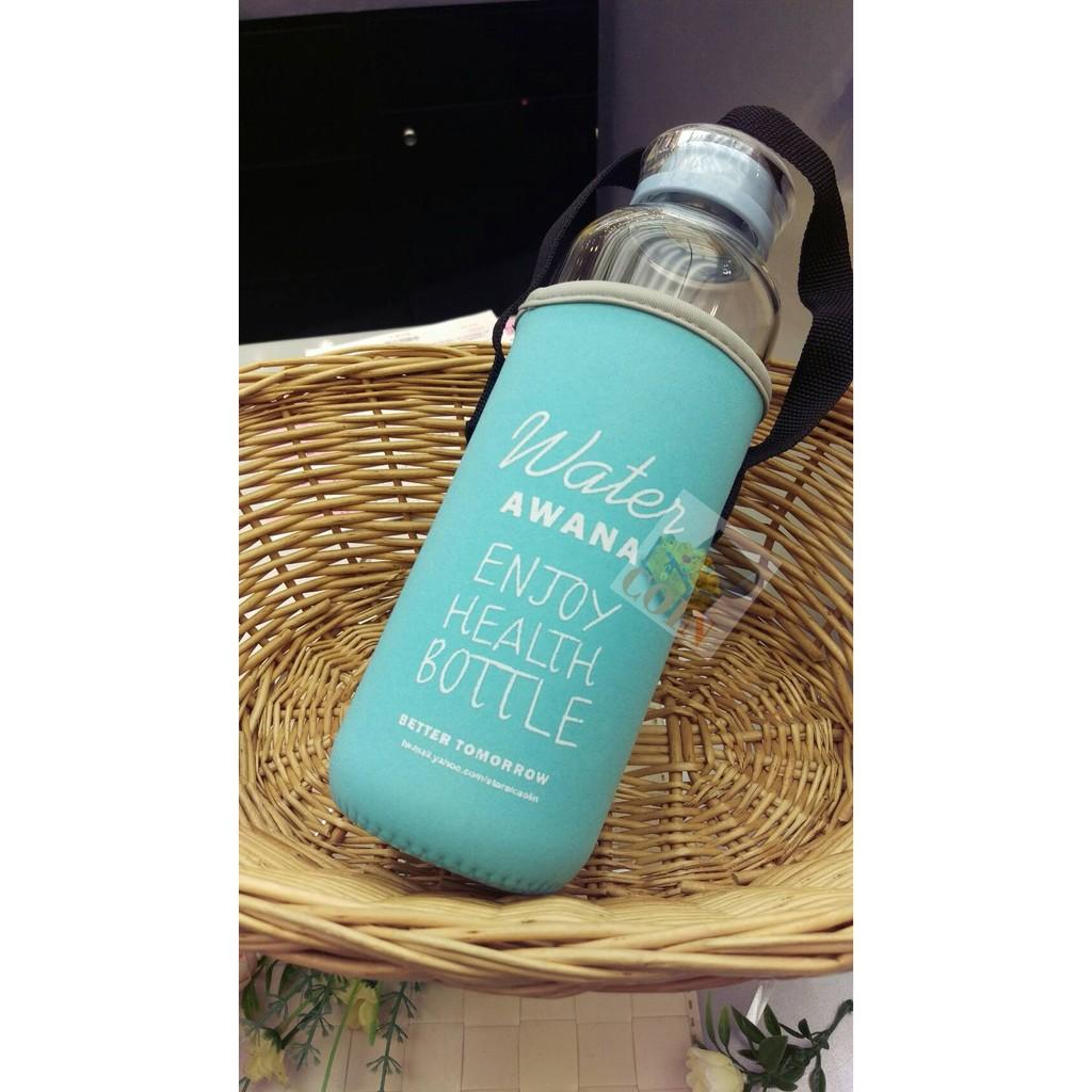 統一時代 沁藍玻璃隨身瓶AWANA 附提袋塗鴉玻璃杯