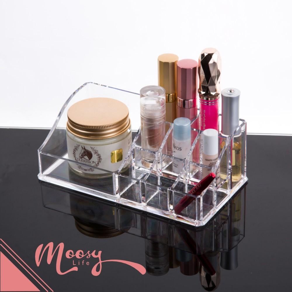 極簡風化妝品收納盒9 小1 大桌上型 水晶透明化妝品保養品化妝盒收納盒