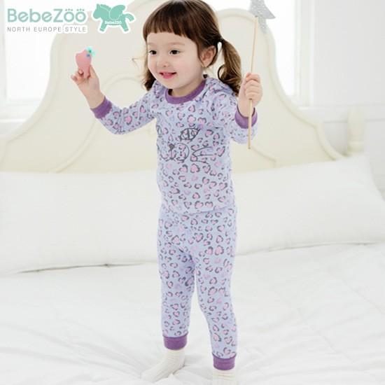 ⛱ ⛱女童韓國Bebezoo 女童 款豹紋小貓純棉長袖家居服睡衣套裝