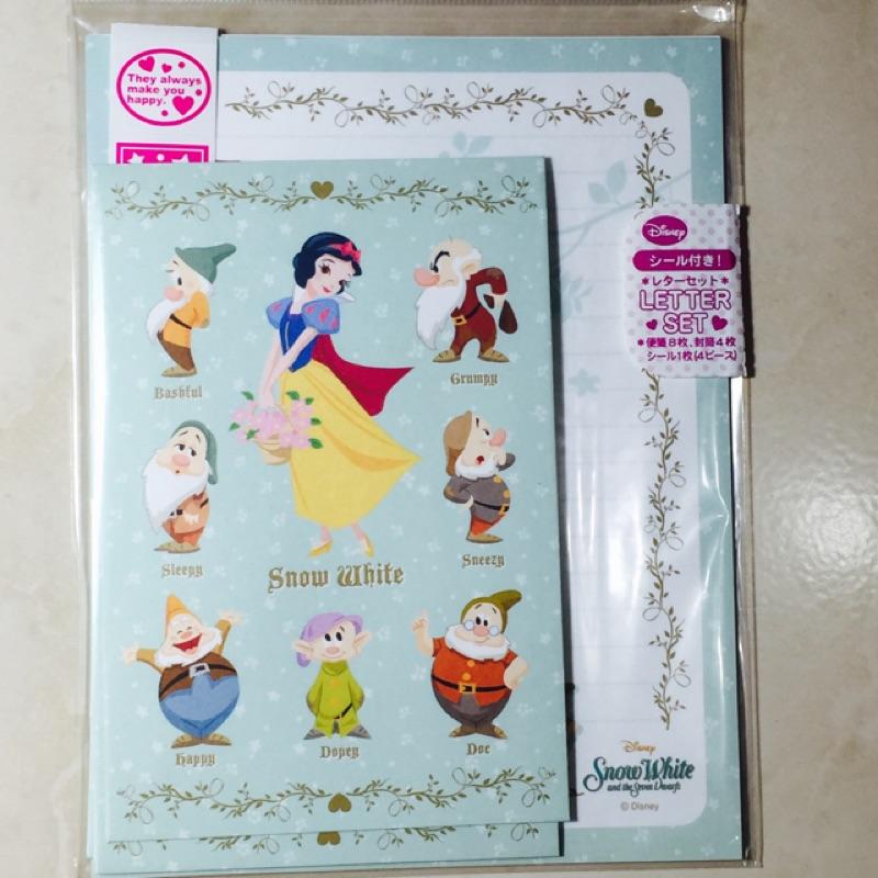 迪士尼 便條信紙信封文具組白雪公主七矮人小熊維尼小美人魚阿拉丁睡美人愛麗絲灰姑娘美女與野獸