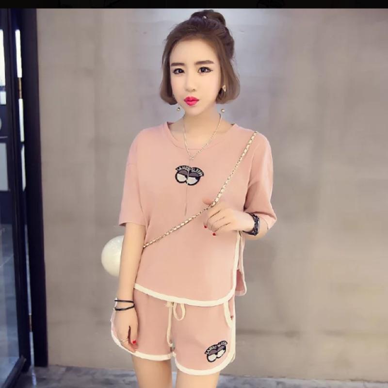 2016 夏裝 寬鬆顯瘦貼布圓領短袖T 恤衫休閒短褲 套裝女