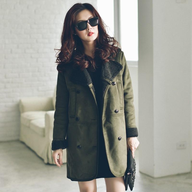 加大 (XL 4XL )大碼胖妹妹韓國 內裏羊糕絨麂皮绒大翻領棉衣大衣保暖外套130096