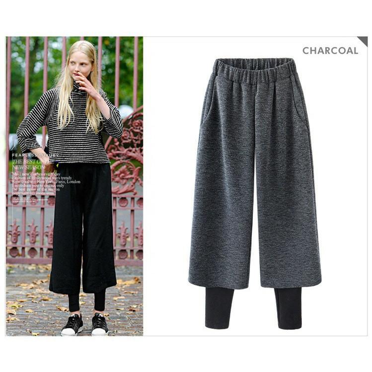 季 呢子闊腿褲女褲 顯瘦假兩件打底褲長褲有內襯