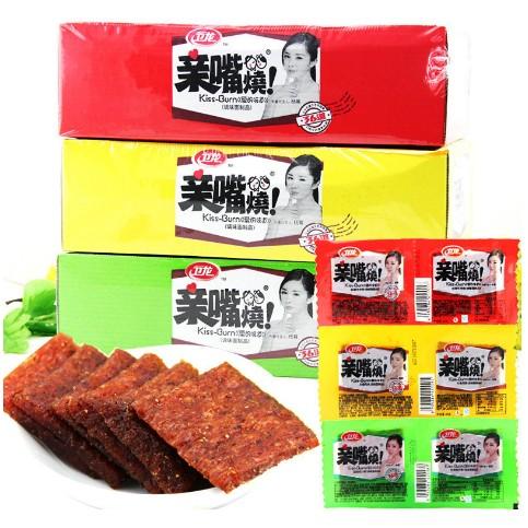 衛龍辣條親嘴燒1000g 整盒100 包特產休閒零食麵筋小食品批