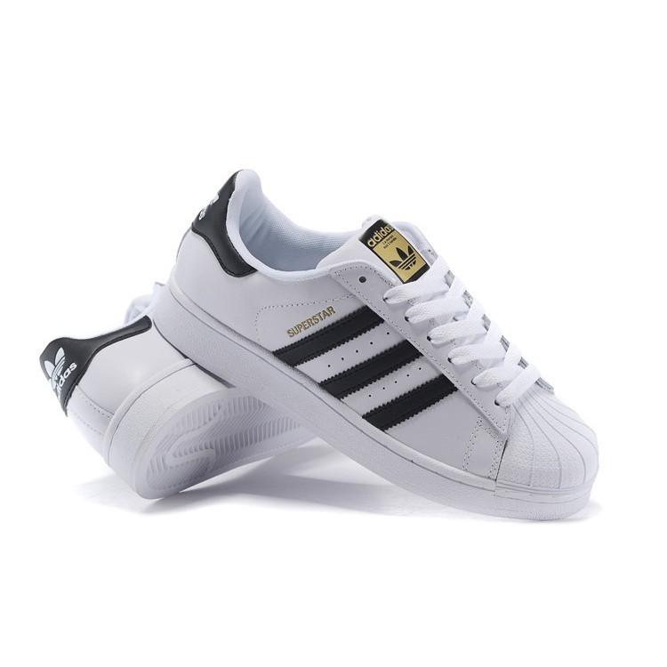 香港 Adidas Originais 三葉草貝殼板鞋男鞋金標 黑白休閒女鞋情侶 男鞋男鞋