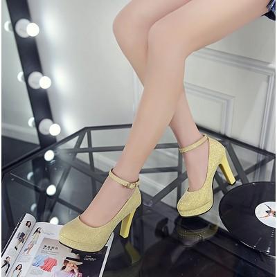 2016 春  單鞋防水臺女鞋粗跟高跟鞋圓頭一字扣帶公主鞋