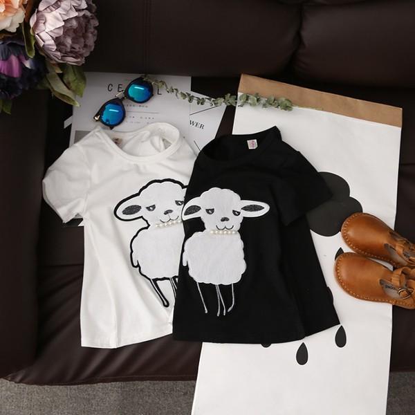 ~耐心等候~2017 女童夏裝可愛小羊釘珠短袖打底衫T 恤兒童百搭 清涼上衣