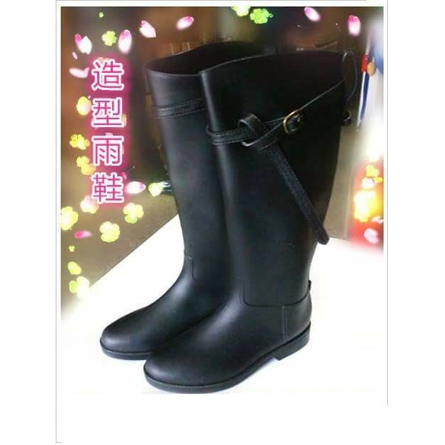 低跟長筒靴雨靴雨鞋B02 黑色 下殺 好看時髦又 重點是好搭款賣完就没了