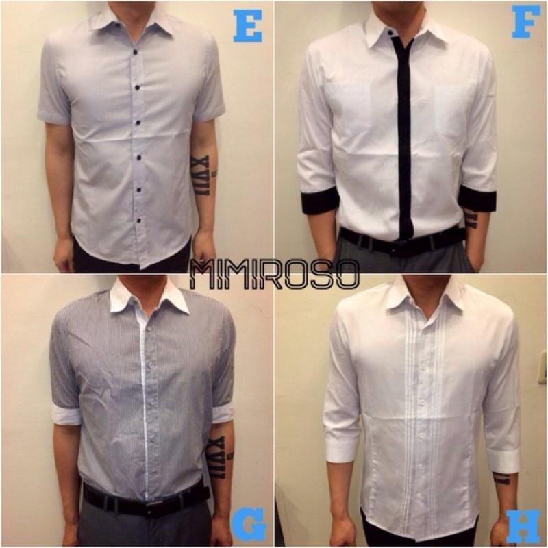 MIMIROSO ♣240 各式 男襯衫短袖襯衫長袖薄 上衣條紋素色黑白灰色業務上班通勤