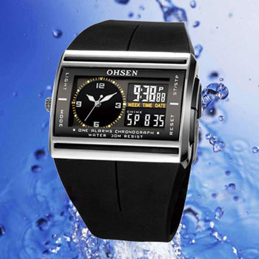 OHSEN 防水 LCD 顯示日期時鐘軍錶