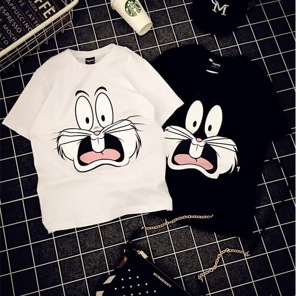 日 Bunny 邦尼兔子寬鬆男友風短袖t 恤情侶裝閨蜜裝
