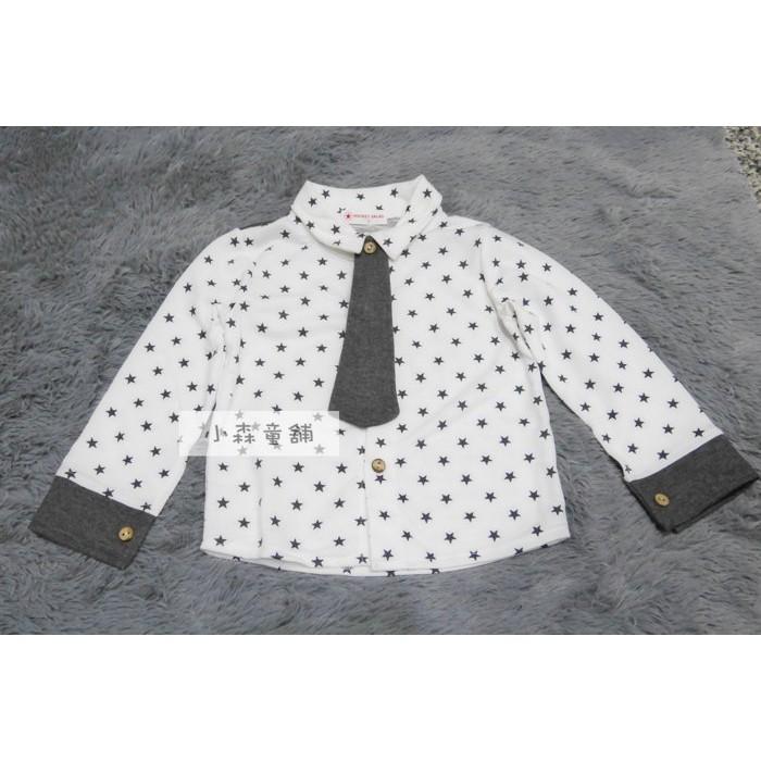 小森童舖秋 韓系男童帥氣滿版星星x 灰色系領帶 棉質長袖上衣polo 衫5 7 9 11