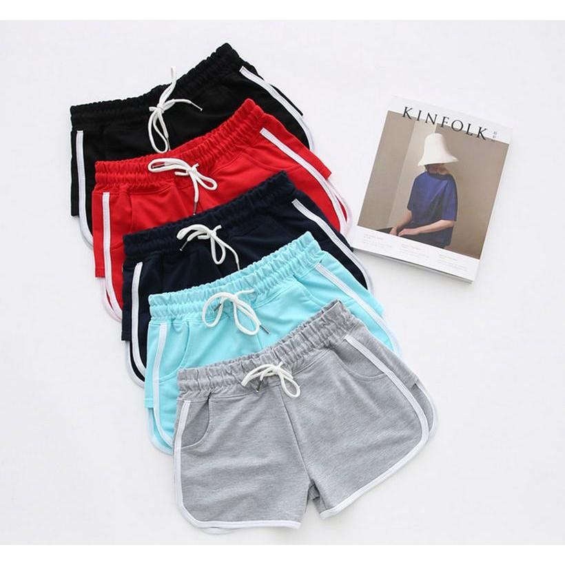 AA 款彈性滑布緞面棉質鬆緊腰圍側邊圓弧開叉 健身瑜珈滾邊棉褲中低腰合身包臀休閒短熱褲